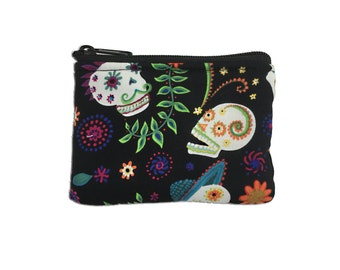 Mariachi Sugar Skulls Coin Bag // Change Purse // Pouch // Dia de los Muertos // Day of the Dead // Calaveras