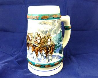 """Vintage 1993 Budweiser Holiday Stein Collection, """"Special Delivery"""" by Artist Nora Koerber, Anheuser-Busch, Inc."""