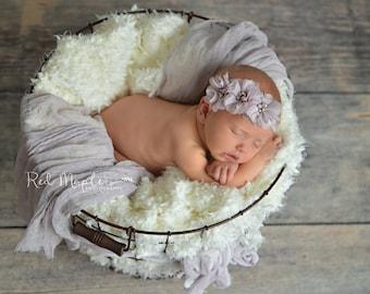 Dusty lilac flowers newborn headband, infant headband, baby headband, newborn photo prop, headband, toddler headband, vintage headband