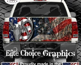 American Deer Hunter Flag Camo Truck Tailgate Wrap Vinyl Graphic Decal Sticker Wrap