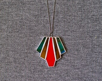Art Deco Stained Glass Necklace Pendant