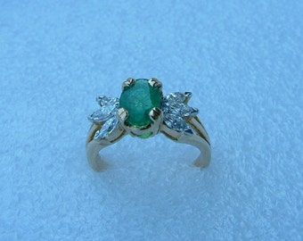 emerald and diamond ring-Emerald ring-diamond ring-Emerald and Diamond ring-gold ring
