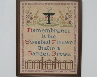 Cross Stitch Wall Hanging, Vintage