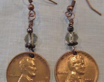 Vintage 1953 Lincoln Copper Penny Earrings