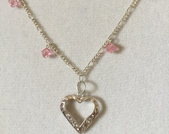Heart with Pink Swarovski Crystals