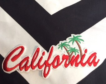 California Script Letters Deadstock Palm Trees Iron On Patch, Badge Red White
