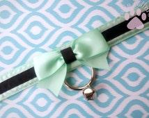 Mint and Black Collar, Kitten Play Collar, Tug Proof Collar, Creepy Cute Collar, BDSM Collar, Ribbon Collar, Submissive Collar, DDLG Collar