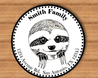 Hand Drawn Sloth Personalized Return Address Label