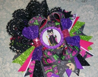 Maleficent Villians Pink, Black, Purple, Lime Green Glitter  Stacked Twisted Boutique bottle cap Bow