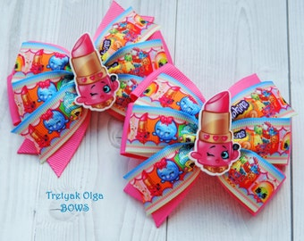 Shopkins hair bow Lippy Lips shopkins hair bow Shopkins party Shopkins Birthday Shopkins outfit Girls Hair Bows Shopkins dress