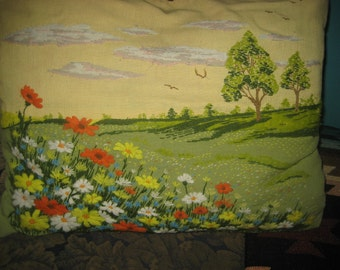 1970s Hand Embroidered Pillow Case / Daisies in a Field Colorful Autumn Colors Pillow Cover with Zipper