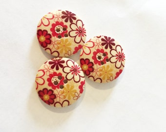 Red Flower Button - Yellow Floral Button - Pink Button - Large Button - 35 mm Button - Flat Back Button - Mixed Buttons - Craft Buttons