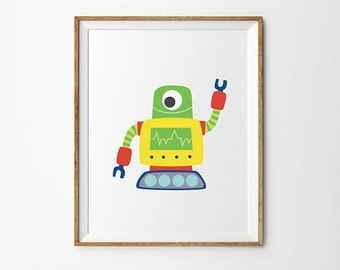 Robot print, 5 x 7 in, 8 x 10 in, Robot Prints, Nursery decor, Baby boy art work, Robot posters, Kids print, Playroom decor, Nursery decor
