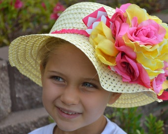 Pink and Yellow Girls Hat