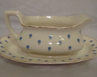 "W.S.George ""Lido"" gravy boat with underplate - Forget-Me-Nots?- Made in the USA-182A"