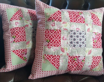 Red Patchwork Cushion Country Cottage Style - Great Mother's Day present!