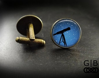 Telescope Cuff Links Night Sky Accessories - Telescope Cufflinks Blue Sky Accessories - Night Sky Accessory Cufflinks - Telescope Cuff Links