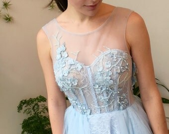 Blue Floral Strapless A-line Wedding Dress