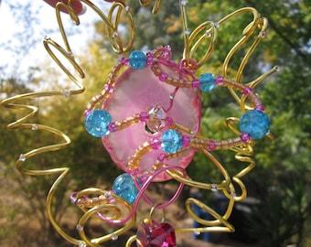 Pink Agate - Sun Catcher - Aqua Glass Bead Accents # 5900