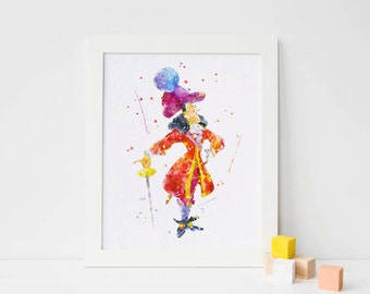 Captain hook watercolor print peter pan nursery poster watercolor nursery wall art peter pan artwork pirate party pirate Disney pirate print