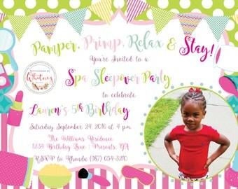 Spa Sleepover Birthday Party Digital Printable Invitation Design