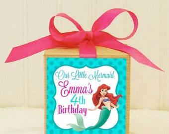 Favor Box, 10 Personalized Party Favors, Kraft Box, Little Mermaid Party, Favors, Printable Favor Tags, Kraft Boxes, Favor Kits, Girls Party