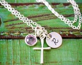 Sterling Silver Cross Necklace • Easter Gift • Easter Necklace • Girl Baptism Gift • First Communion • Dainty Charm Necklace • Cross Initial