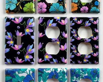 Vintage Flower One Switch Two Outlet Sets