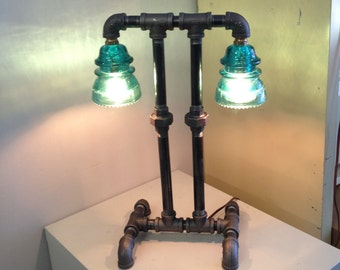 Double Blue Insulator Black Pipe Table Lamp Steampunk