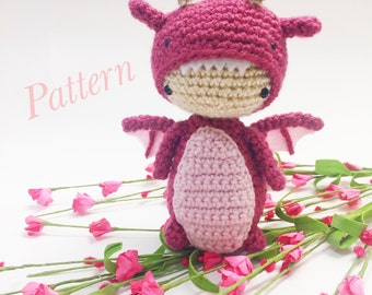 Kid in Dragon Costume/Suit Amigurumi - PDF Pattern