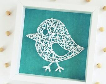 String Art Birdie, Framed Wall Art, Nursery Decor