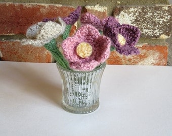 Five Hand Knitted Flowers in Vase
