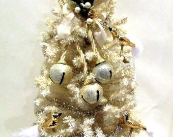 Christmas Tree Door Hanger, Vintage Embellished Christmas Tree Door Hanger/ Wall Tree, Angels, Bells