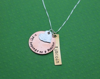 Army Wife Army Mom Army Girlfriend Necklace My heart belongs to a Soldier