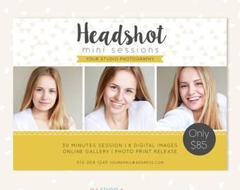 Headshot mini session template, Photoshop Templates for Photographers, Portrait Marketing board, Photography marketing templates, headshots