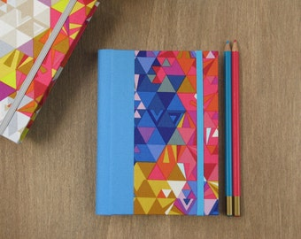 2016 - 2017 Weekly Planner in Blue, Pink and Yellow Geometric Pattern - A6 size / small size - Made to order