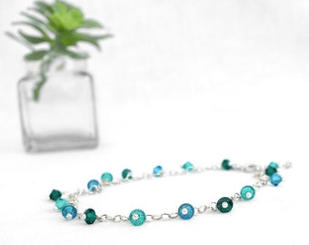 Green sterling silver anklet Swarovski crystals ankle chain