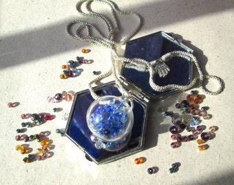 Handmade necklace with Swarovski Beads and glass Ball Pendant