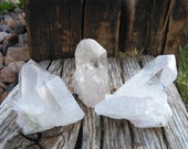 4TH of JULY SALE! Crystal Set | Set of 3 Large Clear Quartz Crystals | Clear Cluster from Brazil |  Healing Stone | Mineral Specimen #3