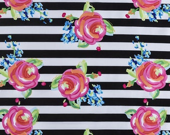 Watercolor Rose and Stripe Fabric, Floral Fabric, Fabric by the yard, Fat Quarter, Quilting Fabric, Apparel Fabric, 100% Cotton Fabric, F-2
