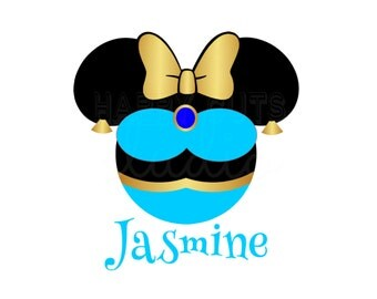 Personalized Princess Jasmine Aladdin Minnie Mickey Iron On Vinyl Decal Matching Family Mother Daughter Disney Iron On for T Shirt