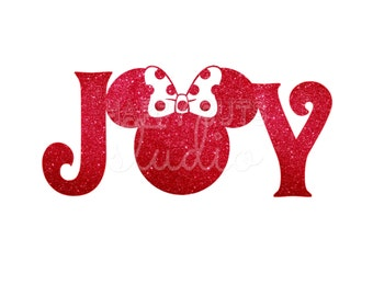 JOY Minnie Mouse with Glitter Christmas Matching Family Minnie Mouse Christmas Disney Glitter Disney Iron On Decal Vinyl 4 Shirt 178