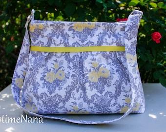 Pleated diaper bag, floral purse, messenger bag, large purse