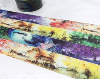Ocean scenes washi tape 10m x 2cm four seasons Landscape Autumn landscape northern lights sea scenes masking tape colorful deco tape gift