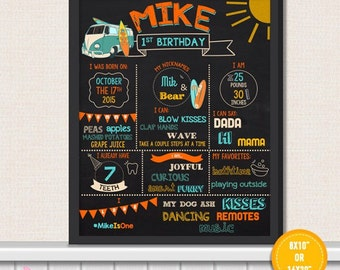 Surf's Up Surf First Birthday Chalkboard Sign - surf 1st Birthday Printable Sign