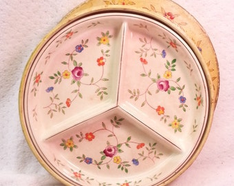 Vintage Takito Co Floral Divided Serving Plate in origianl matching box, Hand Painted Made In Japan