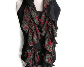 Reversible Ruffle Black & White Paisley on Red Background Scarf