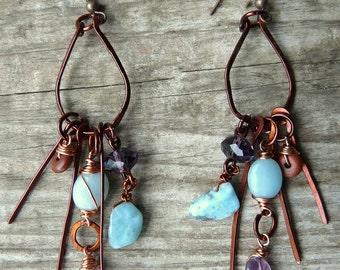 Boho wire earrings, Copper earrings, Dangle earrings, Rustic earrings, Blue earrings, Larimar earrings, Wire wrap earrings, Gift for her