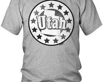 Faded Utah State Circle Star Crest Men's T-Shirt, State of Utah, Utahn, Utahan Pride, Men's Utah Shirts AMD_2358