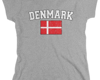 Distressed Bold Denmark Ladie's T-Shirt, Danish Flag, Dane, Pride, Women's Denmark Soccer Shirts AMD_DEN_02
